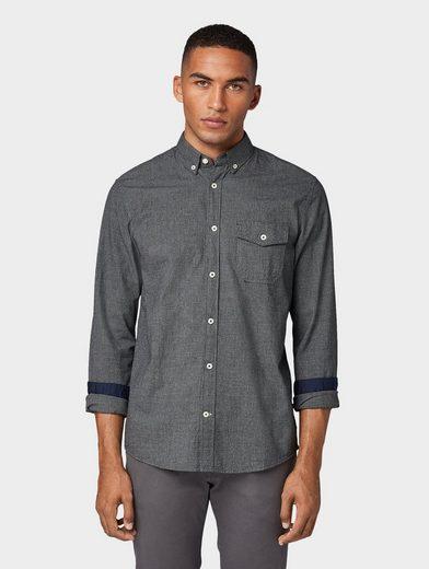 Schlussverkauf TOM TAILOR Langarmhemd »Gemustertes Hemd mit schmalem Kent-Kragen«