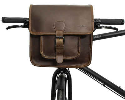 Gusti Leder Lenkertasche »Jens V.«, Lenkertasche Umhängetasche Fahrradtasche kompatibel mit Klickfix Platte Ledertasche Vintage Braun Leder Damen Herren