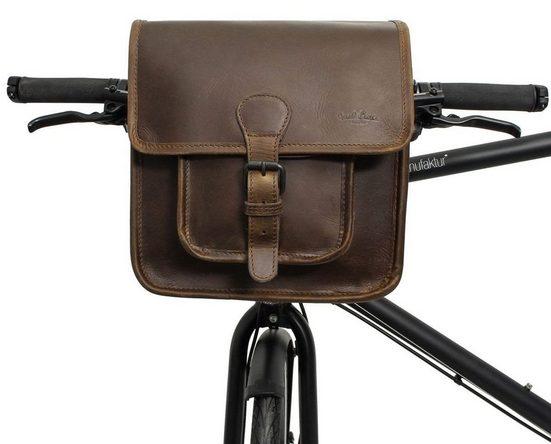 Gusti Leder Lenkertasche »Jens V.«, Umhängetasche Fahrradtasche kompatibel mit Klickfix Platte Ledertasche Vintage