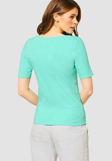 Cecil Rundhalsshirt »Lena« Basic-Shirt mit Halbarm