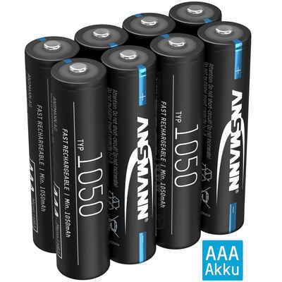 ANSMANN® »Akku AAA 1050mAh NiMH 1,2V - wiederaufladbar, hohe Kapazität (8 Stück)« Akku 1050 mAh (1.2 V)