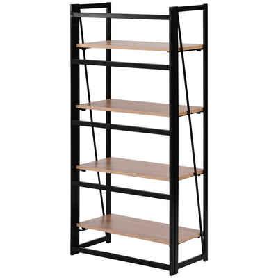Fangqi Bücherregal »4-stufiges rustikales Bücherregal, Multi-Funktionen Regal aus Holz und Metall, stehendes Regal für Dekorationen oder Aufbewahrung«