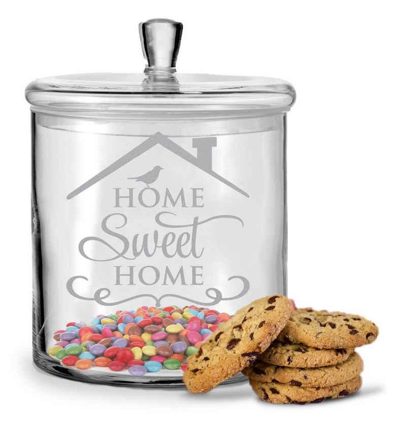 GRAVURZEILE Keksdose »Leonardo Keksglas mit Gravur Home Sweet Home für Freunde und Famile«, Glas