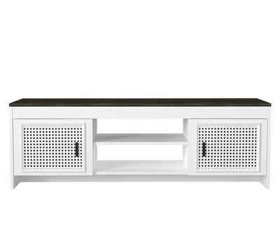 moebel17 TV-Regal »TV Lowboard Done Weiß Rebab«, der moderne Fernsehtisch >>Done<< verleiht Ihrem Wohnraum einen einzigartigen Hauch von Stil