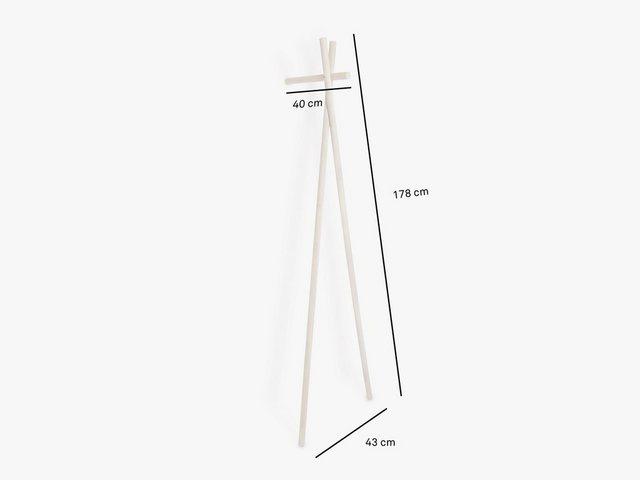Garderoben Sets - kommod Garderobe »LENAH«, Lehngarderobe, Standgarderobe, Design Wandgarderobe – 178 x 43 x 40 cm – Esche massiv natur  - Onlineshop OTTO