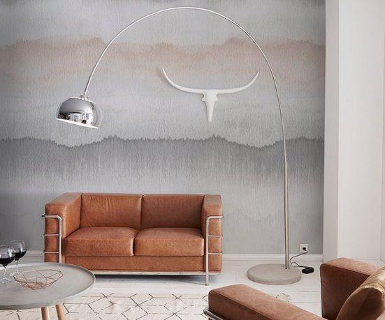 DELIFE Stehlampe »Big-Deal«, Deluxe Silber verchromt mit Dimmer und Betonfuß Bogenlampe