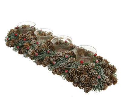 CHRISTMAS GOODS by Inge Teelichthalter, Adventsgesteck mit Windlicht Glas 47cm