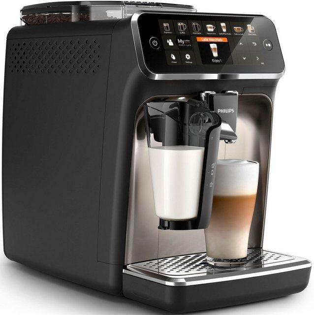 Philips Kaffeevollautomat 5400 Series EP5447 90 LatteGo, chrom mattschwarz