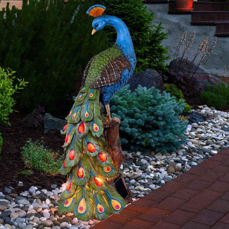 etc-shop LED Dekofigur, Solar Gartenskulptur für Außen Terrassen Gartendeko Figur Skulptur Akku im Pfau Design, Kunststoff bunt, 4x LED 3000K, BxH 18,5x47 cm
