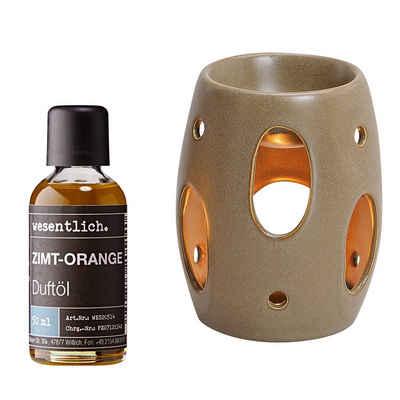 wesentlich. Duftlampe »Braun mit Premium Raumduft Zimt-Orange 50ml« (Duftöl-Set)