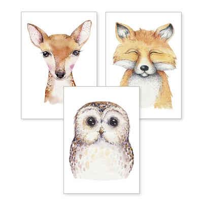 Kreative Feder Poster, Eule, Fuchs, Reh, Zeichnung, Kinderzimmer, Tiere (Set, 3 Stück), 3-teiliges Poster-Set, Kunstdruck, Wandbild, optional mit Rahmen, wahlw. in DIN A4 / A3, 3-WP048