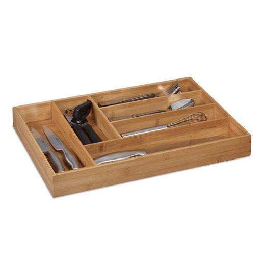 relaxdays Besteckkasten »Besteckkasten Bambus 6 Fächer«