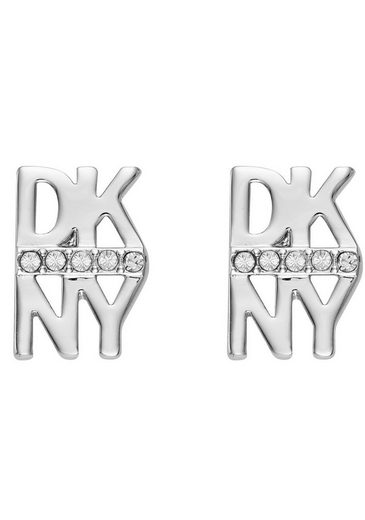 DKNY Paar Ohrstecker »Stacked Pave Logo Stud ER (RH), 5520003«, mit Swarovski® Kristallen