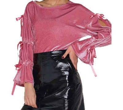 NA-KD Shirtbluse »NA-KD Fashion x THERESE LINDGREN Blusen-Shirt coole Damen Samt-Bluse mit Öffnungen am Arm Party Pink«