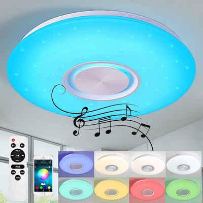 style home Deckenleuchte, mit Bluetooth Lautsprecher RGB LED Lampe Fernbedienung und APP-Steuerung, Farbwechsel, dimmbar, Sternenhimmel, Ø40 cm