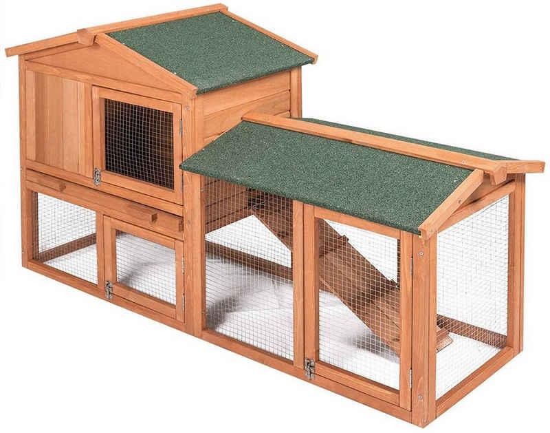 EUGAD Tierhaus »0002TL«, Kaninchenstall Kleintierstall Hasenkäfig, mit Treppe Wetterfest Doppelstöckig, Hellrot