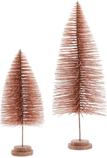 Dekobaum »Tannen-Set« (2 Stück), mit Glitzer, Höhe 40 cm + 60 cm