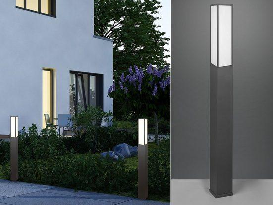 meineWunschleuchte LED Pollerleuchte, 2er Set Wege-Beleuchtung für Außen Outdoor Stehlampe Garten Terrassen-Leuchte Anthrazit 155cm