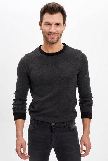 DeFacto Strickpullover »DeFacto Herren Pullover Slim Fit Sleeve Detailed T-Shirt SLIM FIT CREW NECK«
