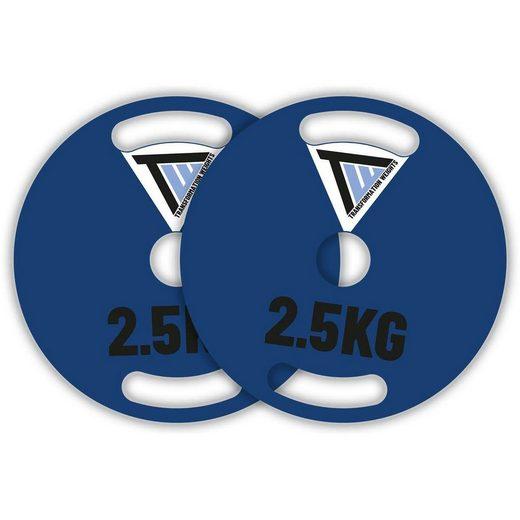 TRANSFORMATION WEIGHTS Hantelscheiben, (2-tlg., enthält zwei Scheiben), 2x 2,5kg Lochdurchmesser 50mm Stahlscheiben extra schmal 5mm Stahllegierung Gewichtsscheiben 2,5 - 20 kg