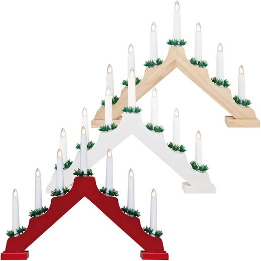matches21 HOME & HOBBY Kerzenhalter »Weihnachtsleuchter Fensterleuchter Holz 7-flammig rot«