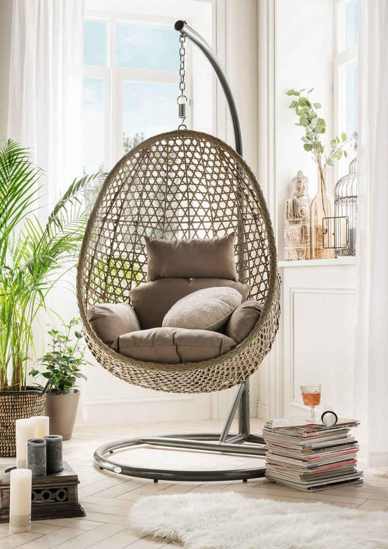 Destiny Hängestuhl »Cocoon De Luxe«, Polyrattan/Stahl, inkl. Sitz- und Rückenkissen