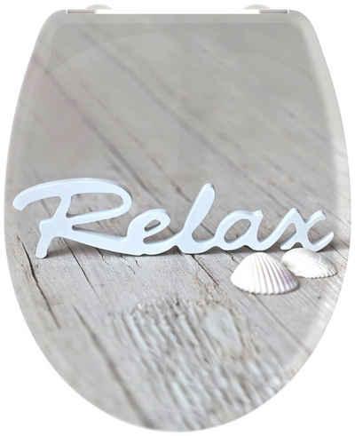 welltime WC-Sitz »Relax«, hochwertiger abnehmbarer Premium-Toilettendeckel mit Absenkautomatik, Bruchsicher und kratzfest, mit Schnellverschluss, geeignet für alle handelsüblichen WC's, Motiv Schriftzug auf Vintage Holz