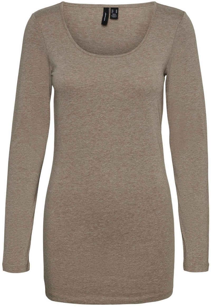Vero Moda Longshirt »VMMAXI MY LS SOFT LONG U-NECK« in Melange Optik