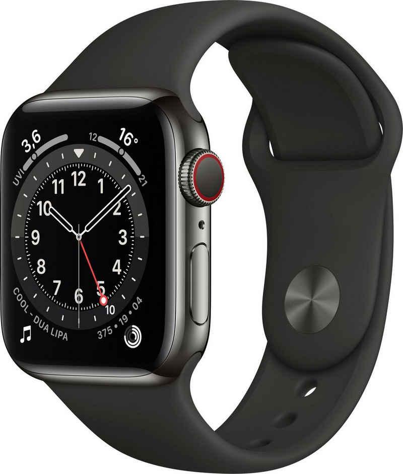 Apple Series 6 GPS + Cellular, Aluminiumgehäuse mit Sportarmband 40mm Watch (Watch OS), inkl. Ladestation (magnetisches Ladekabel)