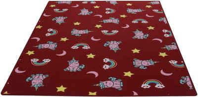 Kinderteppich »Einhorntraum«, Living Line, rechteckig, Höhe 7 mm, Velours, Motiv Einhorn + Regenbogen, Kinderzimmer