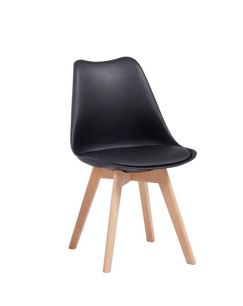 SAM® Schalenstuhl »Mani«, mit integriertem Kunstleder-Sitzkissen und Massivholzgestell