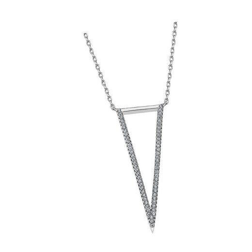 LOTUS SILVER Silberkette »JLP1913-1-1 Lotus Silver Dreieck Halskette« (Halsketten), Damen Kette Dreieck aus 925 Sterling Silber, silber, weiß