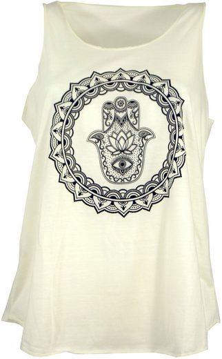 Guru-Shop T-Shirt »Tanktop mit Ethnodruck - Fatimas Hand creme«