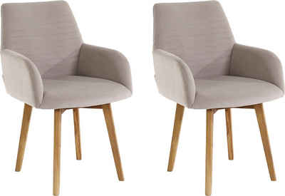 OTTO products Armlehnstuhl »Alessja« (Set, 2 Stück), Bezug aus Microfaser, Gestell aus Eiche Massivholz