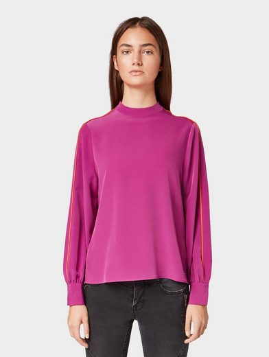 TOM TAILOR Denim Shirtbluse »Bluse mit Kontrastpaspeln«