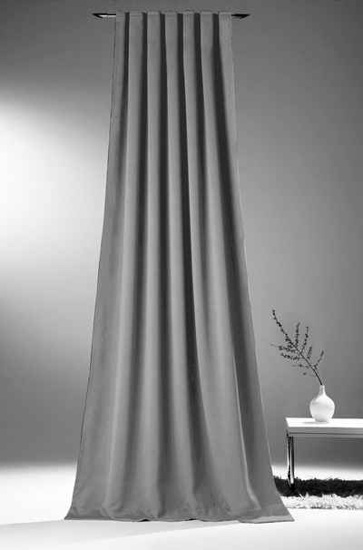 Vorhang nach Maß »Verdunkelungsvorhang XXL grau bis 350 cm lang«, novumfix, Kräuselband (1 Stück)