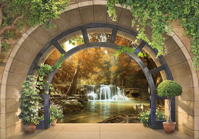 Consalnet Fototapete »3D Wasserfall«, glatt, Motiv, Fenster zum Wald, für Wohnzimmer oder Schlafzimmer