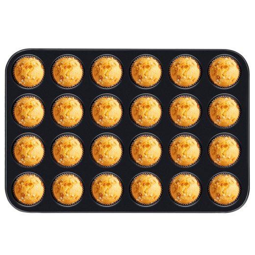 Homewit Backform »24 Mulden Muffinbackform,«, (Set 1-tlg), 38x26x2.2 cm Muffinform für 24 Muffins, mit Antihaftbeschichtung, Gleichmäßige Erhitzung und Gute Wärmeleitfähigkeit, Schwarz