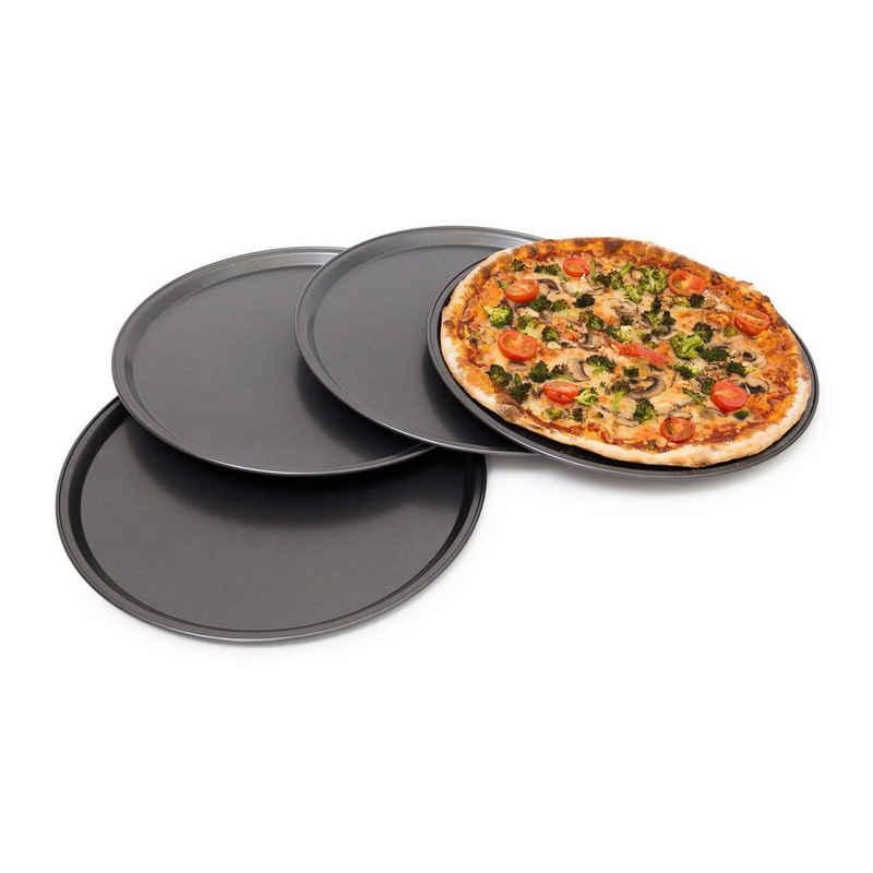 relaxdays Pizzablech »Pizzablech rund 4er Set«, Stahl