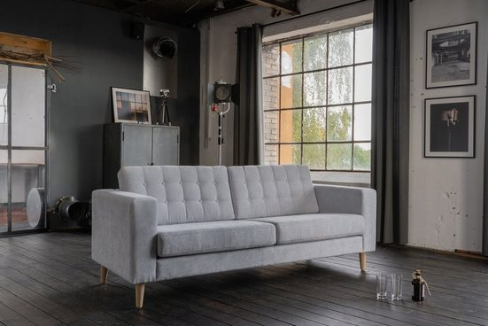 KAWOLA Sofa Stoff hellblau verschiedene Größen »ZOWE«
