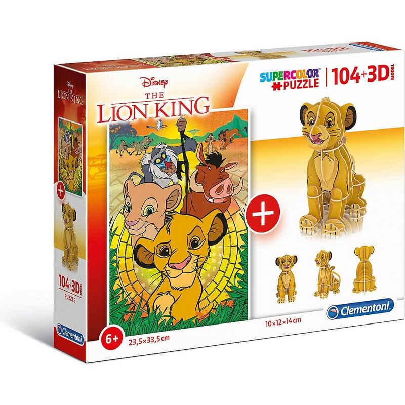 Clementoni® Puzzle »Puzzle 104 Teile + 3D Modell - Disney König der«, Puzzleteile