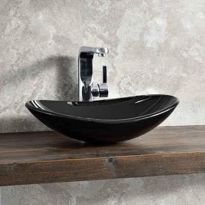 neu.haus Waschbecken, aus gehärtetem Glas - schwarz - 47x30,5x13cm