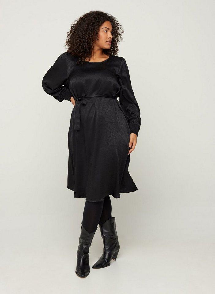 Festtagsmode - Zizzi Abendkleid Große Größen Damen Kleid mit langen Puffärmeln und Bindeband ›  - Onlineshop OTTO