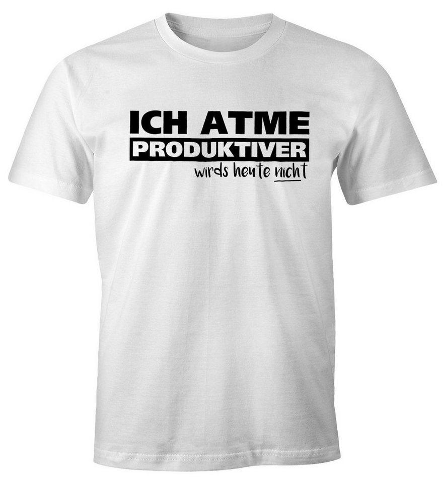MoonWorks Print Shirt »Herren T Shirt Ich atme produktiver wird`s heute  nicht Spruch Fun Shirt Moonworks®« mit Print online kaufen   OTTO