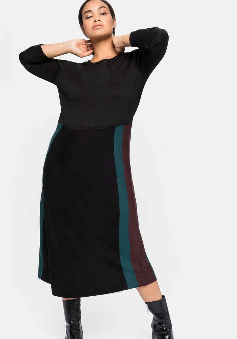Sheego Strickkleid mit weitem Rock und Colourblocking