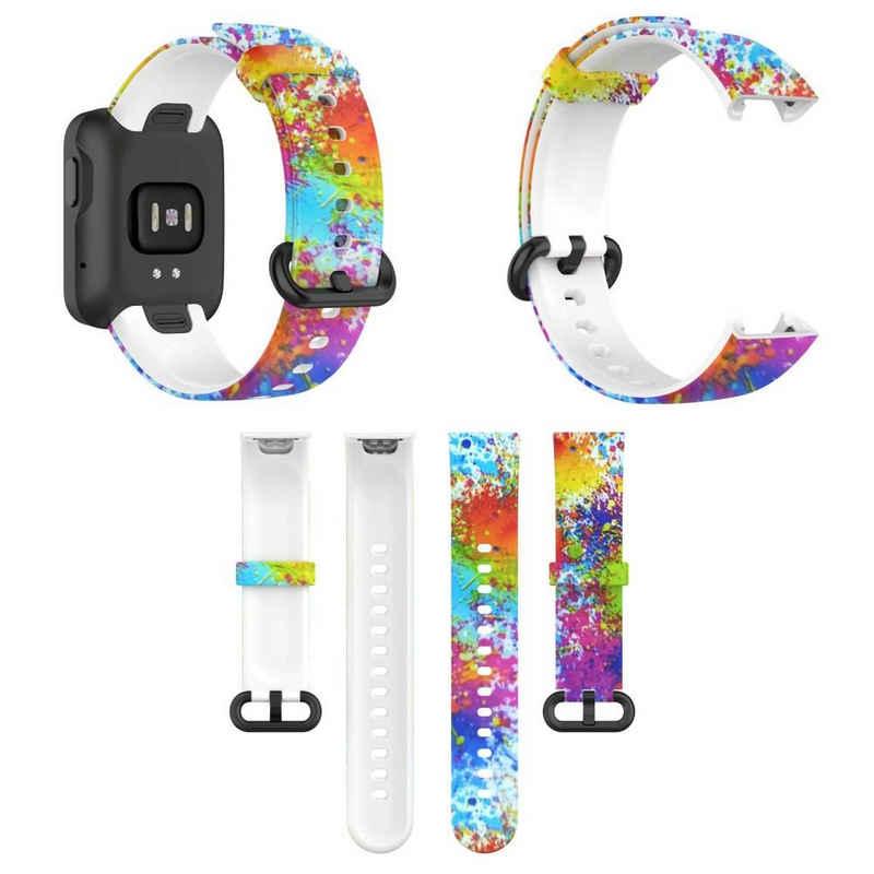 Wigento Für Xiaomi Mi Watch Lite / Redmi Watch Kunststoff / Silikon Armband Muster 1 Uhr Neu Fitnessband