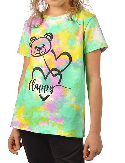 KMISSO T-Shirt »Mädchen T-Shirt Batikdruck Bärchengesicht« (1-tlg) mit Print
