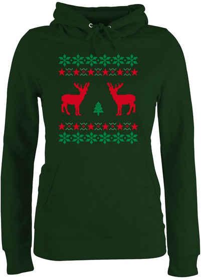Shirtracer Hoodie »Norweger Pixel Rentier Weihnachten - Weihnachten & Silvester - Damen Premium Kapuzenpullover«