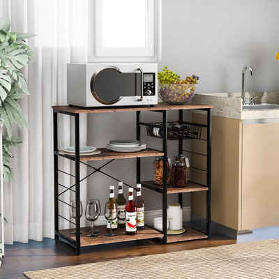 Masbekte Standregal (Küchenregal), Küchenbäckerregale, Küchenregal mit Weinglashalter, 3-stufiger + 4-stufiger Tisch, Vintage 90 x 40 x 84 cm