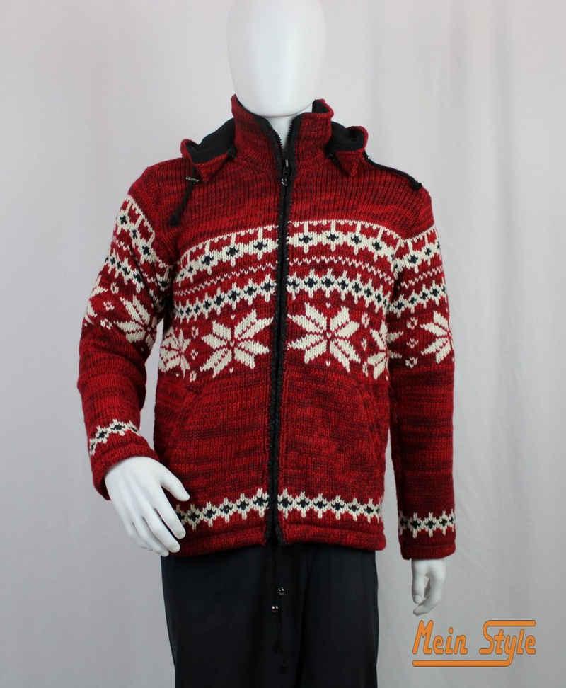 Mein Style Strickjacke »Schafwollstrickjacke Norweger rot 601« (1-tlg., 1 Stück) Strickjacke mit abnehmbarer Kapuze